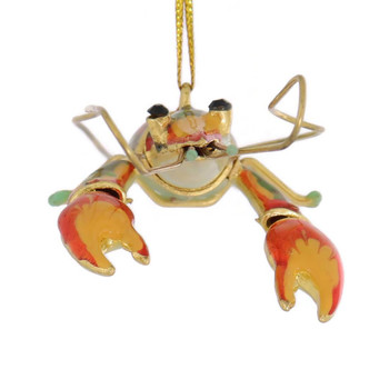 Decorated Articulated Cloisonne Orange Lobster Ornament front