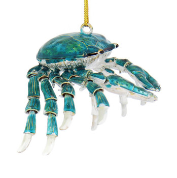 Turquoise Blue Articulated Cloisonne Crab Ornament