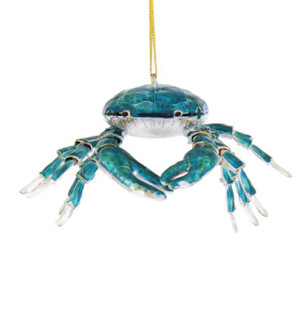 Turquoise Blue Articulated Cloisonne Crab Ornament front
