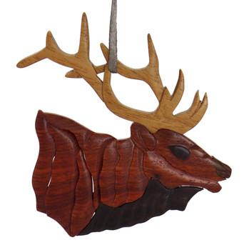 Elk Intarsia Wood Ornament