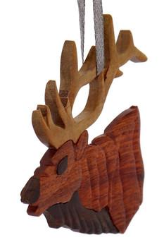 Elk Intarsia Wood Ornament front side