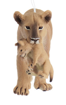 Mommy Lion with Baby Ornament front