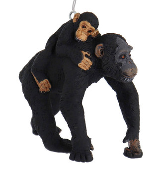 Chimp with Baby Ornament right side