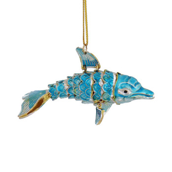 Cloisonne Dolphin Ornament, Silver with Light Blue