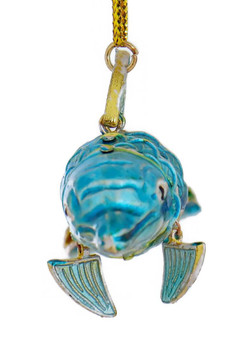 Cloisonne Dolphin Ornament, Silver with Light Blue front