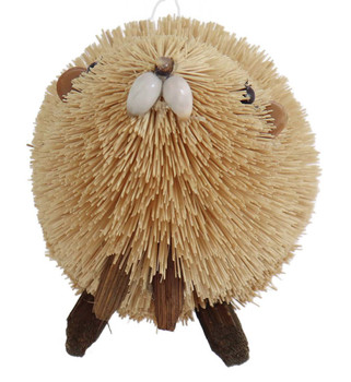 Buri Bristle Natural Beaver Ornament - Large front