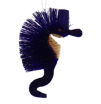 Buri Bristle Large Bendable Seahorse Ornament - Blue
