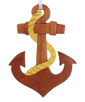 Intarsia Wood Ship Anchor Ornament