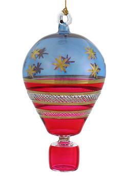 USA Stars & Stripes Lighthouse Mouth-Blown Egyptian Glass Ornament