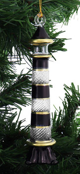 Black Stripes Lighthouse Mouth-Blown Egyptian Glass Ornament garland