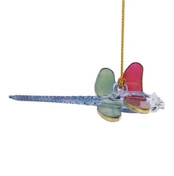 Dragonfly Multi-color Mouth-Blown Egyptian Glass Ornament right side