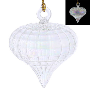 Clear Iridescent Acorn Mouth-Blown Egyptian Glass Ornament