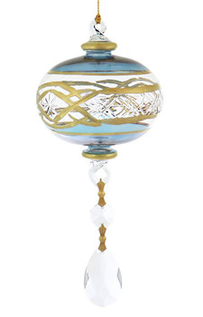 Crystal Drop Dangle, Etched with 24k Gold Mouth-Blown Egyptian Glass Ornament
