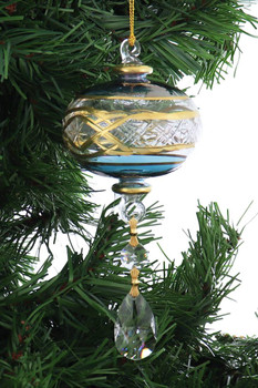 Crystal Drop Dangle, Etched with 24k Gold Mouth-Blown Egyptian Glass Ornament garland 1