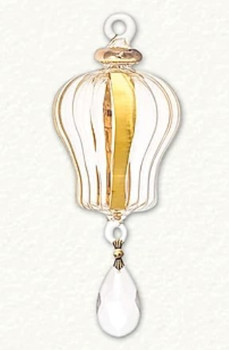 """Royalty Crystal Drop Clear with 24k Gold Mouth-Blown Egyptian Glass Ornament, 6"""", EM13799"""