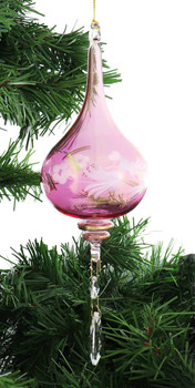Crystal Drop Long Stem with Frosted Flower Mouth-Blown Egyptian Glass Ornament front