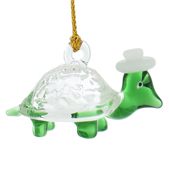 Small Funky Turtle Mouth-Blown Egyptian Glass Ornament