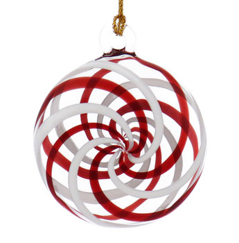 Red and White Peppermint Candy Mouth-Blown Egyptian Glass Ornament