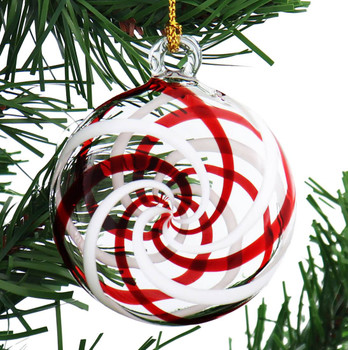 Red and White Peppermint Candy Mouth-Blown Egyptian Glass Ornament garland