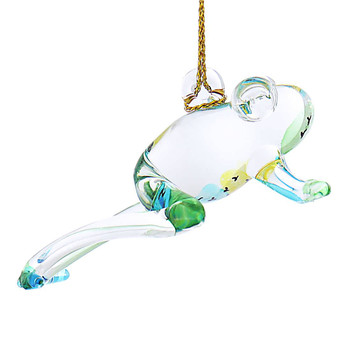 Playful Frog Mouth-Blown Egyptian Glass Ornament right side