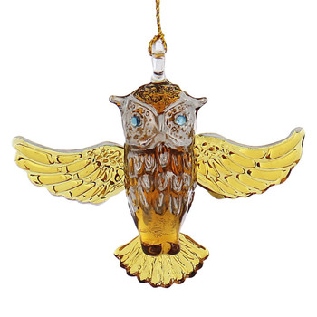 Owl Mouth-Blown Egyptian Glass Ornament