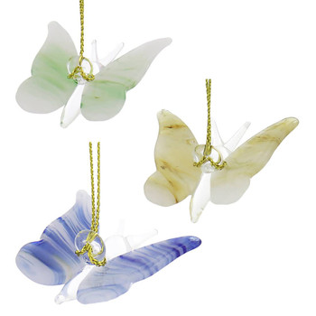 Set of 3 Small Butterfly Mouth-Blown Egyptian Glass Ornaments