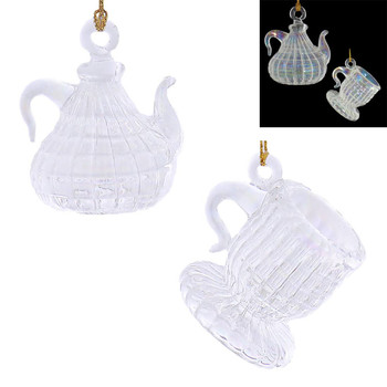 2 pc Clear Iridescent Small Teapot and Cup Mouth-Blown Egyptian Glass Ornaments