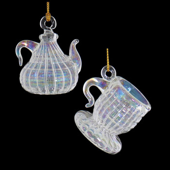 2 pc Clear Iridescent Small Teapot and Cup Mouth-Blown Egyptian Glass Ornaments view 1