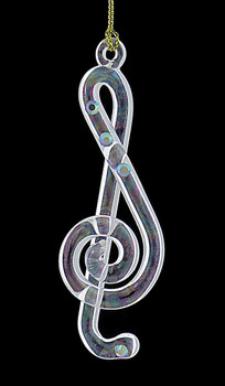 3 pc Clear Iridescent Music Notes Mouth-Blown Egyptian Glass Ornaments  clef