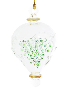Clear with Green Grapes Mouth-Blown Egyptian Glass Ornament