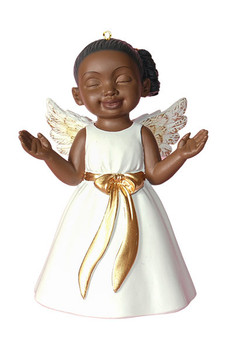 """Worshiping African American Little Girl Angel Ornament - White Gown, 4"""", PG19012"""