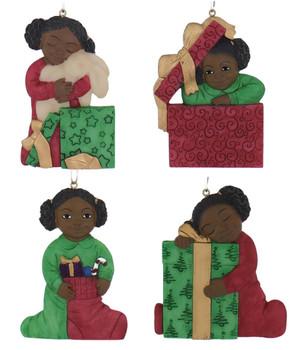 Flat Back Christmas Morning African American Girl Ornament