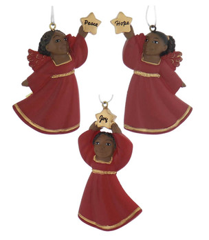 Flat Back African American Little Girl Ornament - Red Robe