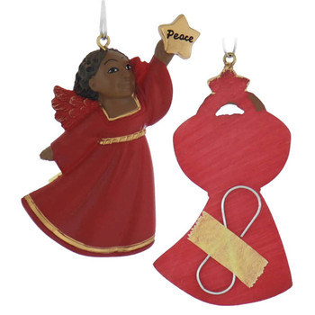 Flat Back African American Little Girl Ornament - Red Robe peace