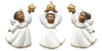 """Flat Back African American Little Girl Ornament - White Robe, 3"""", PG19117"""
