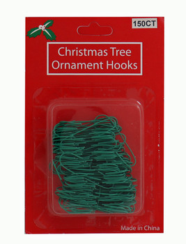 """Small 1 1/2"""" Green Coated Wire Ornament Hooks, 150 pieces, KAH7507 1.5"""