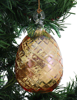 Pineapple Mouth Blown Egyptian Glass Ornament garland side 1