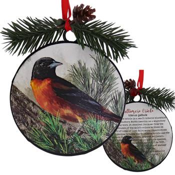 Metal Disc Baltimore Oriole Ornament