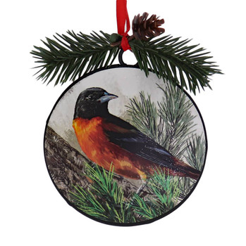 Metal Disc Baltimore Oriole Ornament front