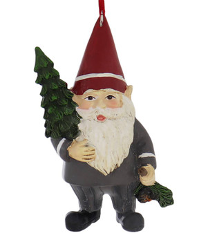 Country Gnome Ornament  red hat front