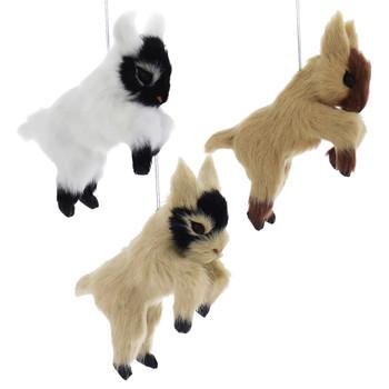 Set of 3 Furry Farm Goat Ornaments