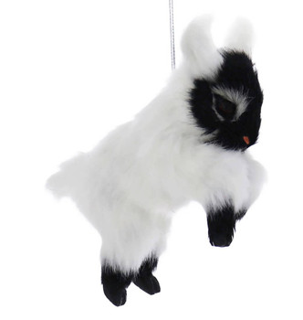 Set of 3 Furry Farm Goat Ornaments white right side