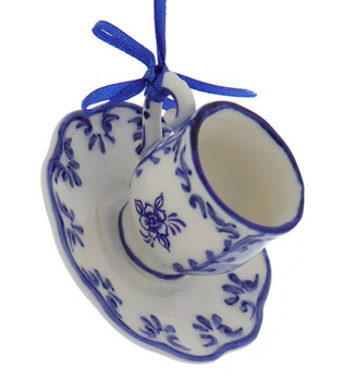 Set of 3 Delft Styled Blue and White Cup and Saucer Ornaments flowers right side