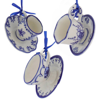 Set of 3 Delft Styled Blue and White Cup and Saucer Ornaments