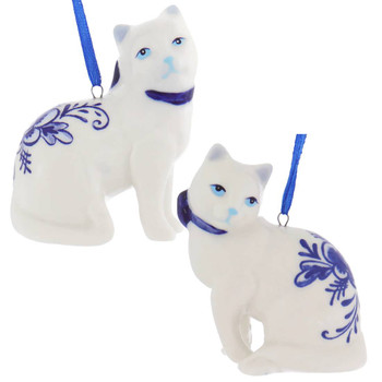 Set of 2 Delft Styled Blue and White Cat Ornaments