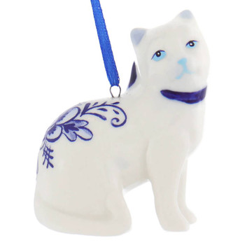 Set of 2 Delft Styled Blue and White Cat Ornaments facing right right side