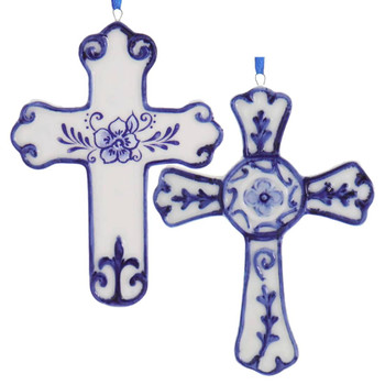 Set of 2 Delft Style Blue and White Cross Ornaments
