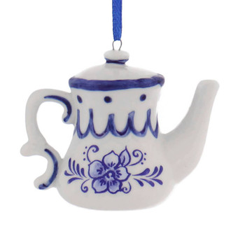 Set of 3 Delft Styled Blue and White Teapot Ornaments style a right side