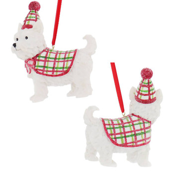Festive Dog Westie Ornament left right side