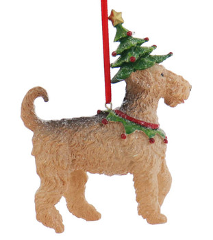 Set of 5 Festive Dog Ornaments airedale right side